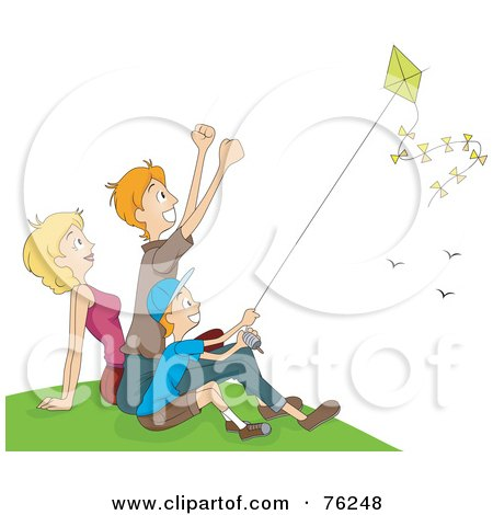 Mom, Dad And Boy Flying A Kite On A Hill Posters, Art Prints