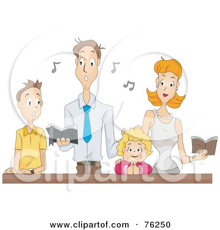 Royalty-Free (RF) Clipart Illustration of a Family Singing At Mass by BNP Design Studio