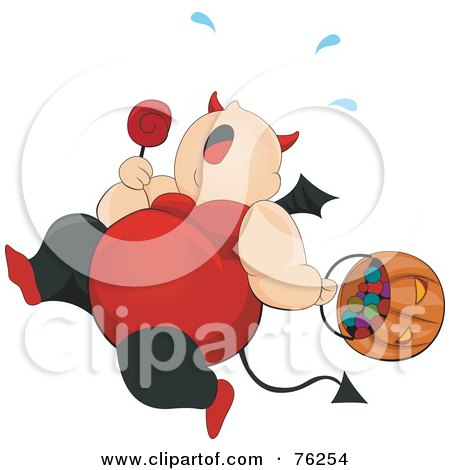 Royalty-Free (RF) Clipart Illustration of a Chubby She Devil Running And Trick Or Treating On Halloween by BNP Design Studio
