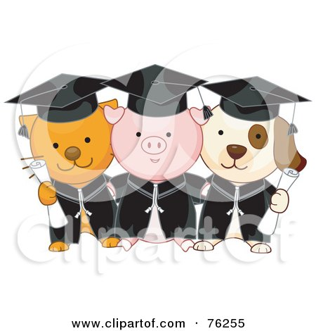 Royalty-Free (RF) Clipart Illustration of Cat, Pig And Dog Graduate Students Holding Diplomas by BNP Design Studio