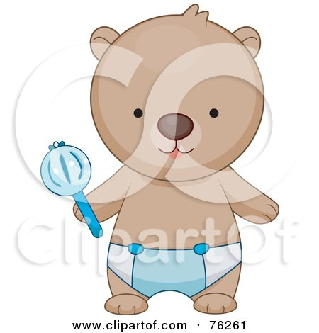 Royalty-Free (RF) Clipart Illustration of a Baby Boy Bear In A Diaper, Holding A Rattle by BNP Design Studio