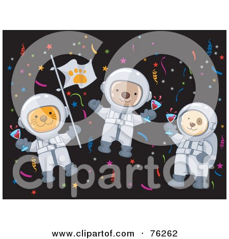 Royalty-Free (RF) Clipart Illustration of Cat, Monkey And Dog Astronauts Celebrating In Space by BNP Design Studio