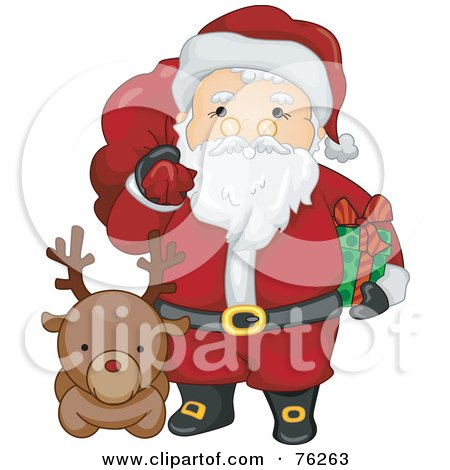 Royalty-Free (RF) Clipart Illustration of Kris Kringle With A Reindeer, Holding A Sack And Present by BNP Design Studio