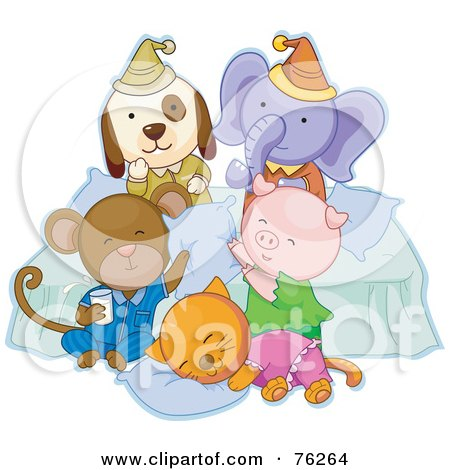 Royalty-Free (RF) Clipart Illustration of a Dog, Elephant, Monkey, Pig And Cat Having Fun At A Slumber Party by BNP Design Studio