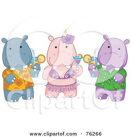 Royalty-Free (RF) Clipart Illustration of Hawaiian Hippos Drinking Cocktails by BNP Design Studio