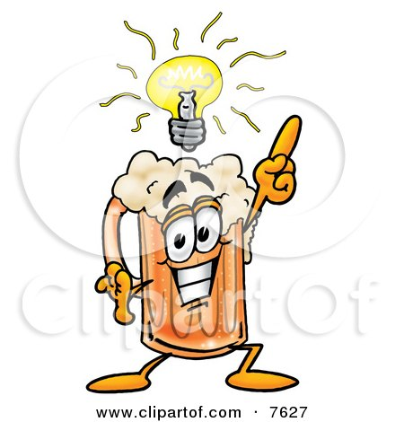 Clipart Picture of a Beer Mug Mascot Cartoon Character With a Bright Idea by Toons4Biz