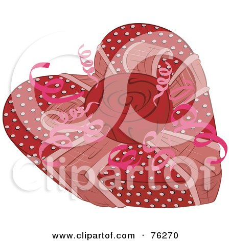 Royalty-Free (RF) Clipart Illustration of a Polka Dot Heart Shaped Valentines Gift Box With A Rose by BNP Design Studio