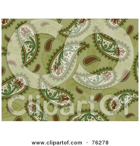 Royalty-Free (RF) Clipart Illustration of a Brown And Green Seamless Paisley Background Pattern by BNP Design Studio