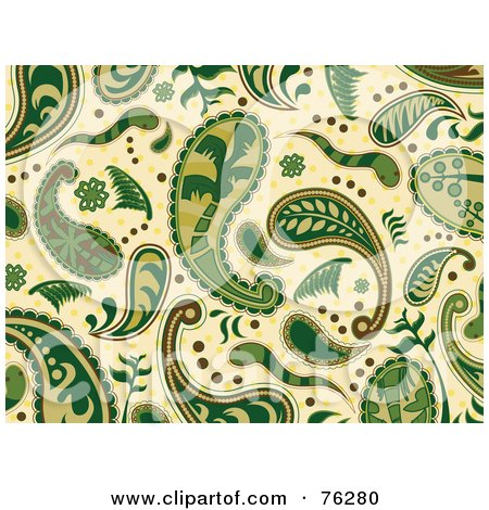 Royalty-Free (RF) Clipart Illustration of a Green And Beige Seamless Paisley Background Pattern by BNP Design Studio