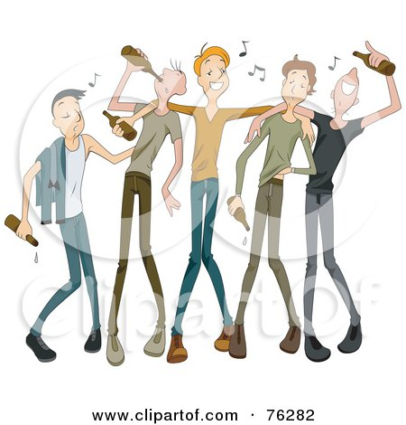 Royalty-Free (RF) Clipart Illustration of a Group Of Drunk Young Men Drinking Beer With Music Notes by BNP Design Studio