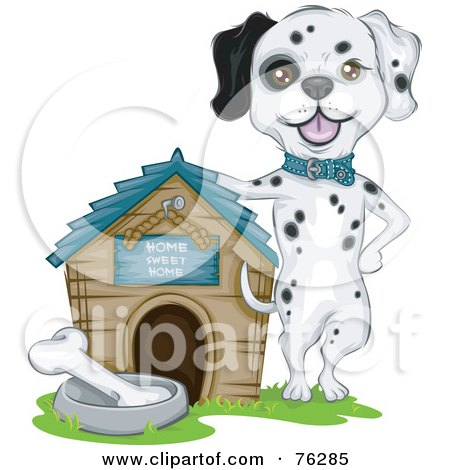 Royalty-Free (RF) Clipart Illustration of a Proud Dalmatian Dog Presenting Off His House by BNP Design Studio