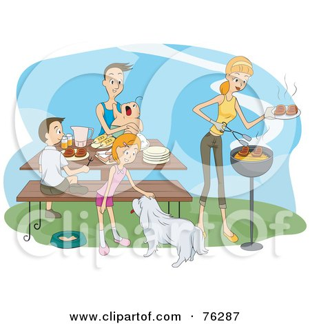 Royalty-Free (RF) Clipart Illustration of a Happy Family With Their Dog, Eating A Bbq Picnic by BNP Design Studio