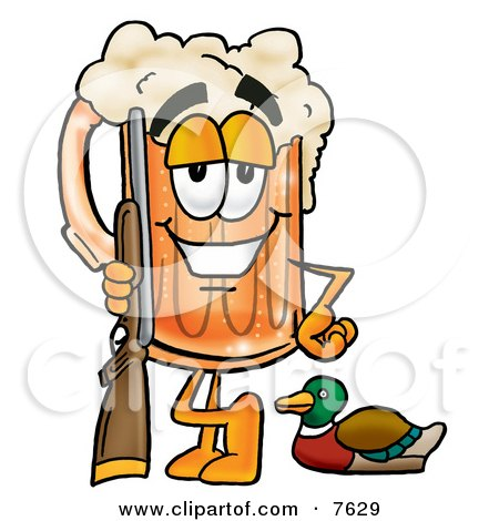 Clipart Picture of a Beer Mug Mascot Cartoon Character Duck Hunting, Standing With a Rifle and Duck by Toons4Biz