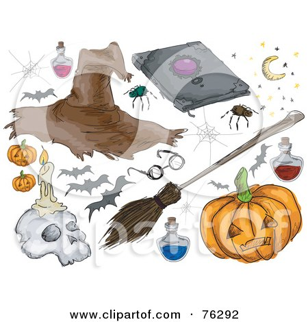 Royalty-Free (RF) Clipart Illustration of a Digital Collage Of Halloween Stuff; Witch Hat, Spider, Bats, Pumpkin, Broomstick And Skull by BNP Design Studio