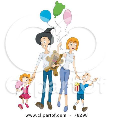 Happy Family Walking At An Amusement Park Posters, Art Prints