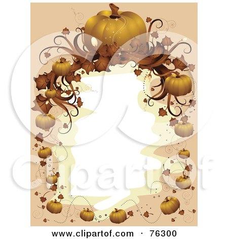 Royalty-Free (RF) Clipart Illustration of a Beige And Orange Halloween Pumpkin Frame Around White by BNP Design Studio