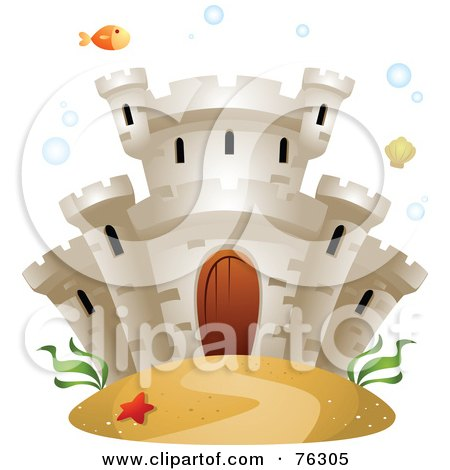 Royalty-Free (RF) Clipart Illustration of an Underwater Castle With A Fish, Bubbles And Seaweed by BNP Design Studio