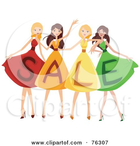 Royalty-Free (RF) Clipart Illustration of a Group Of Four Ladies Wearing SALE Dresses by BNP Design Studio