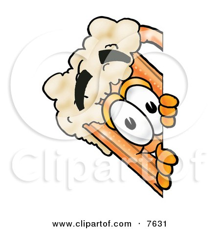Clipart Picture of a Beer Mug Mascot Cartoon Character Peeking Around a Corner by Toons4Biz