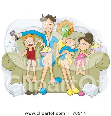 Royalty-Free (RF) Clipart Illustration of a Relaxed Family Sitting On A Couch, Eating Popcorn And Watching A Movie On Their Couch by BNP Design Studio