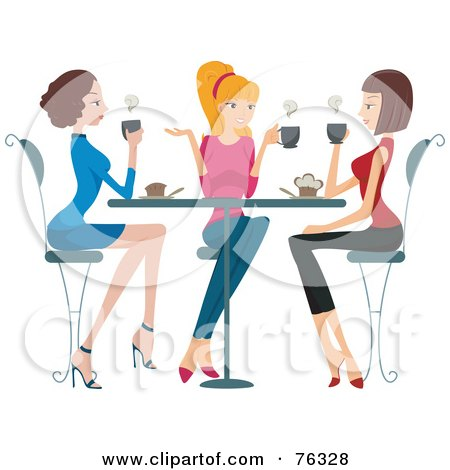 Group Of Young Ladies Chatting Over Coffee Posters, Art Prints