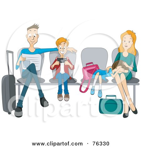 Royalty-Free (RF) Clipart Illustration of a Dad, Son, Daughter And Mother Sitting In Chairs At An Airport by BNP Design Studio
