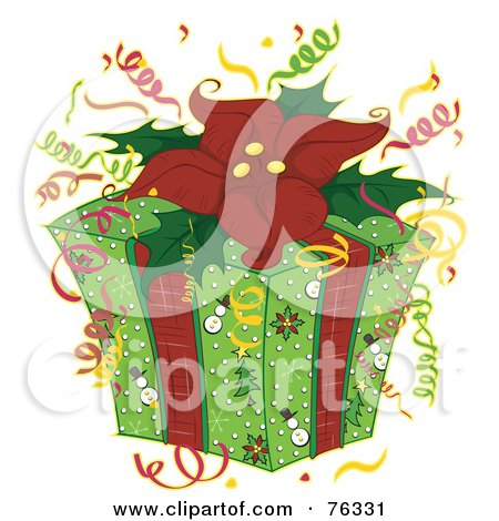 Royalty-Free (RF) Clipart Illustration of a Christmas Present With Snowman Wrapping Paper, Confetti And A Poinsettia Bow by BNP Design Studio