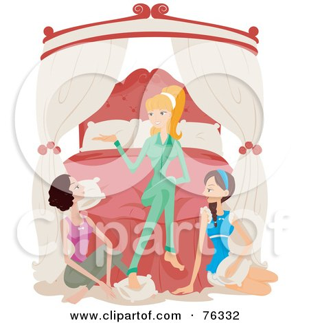 Royalty-Free (RF) Clipart Illustration of a Young Blond Woman And Two Brunette Friends Talking At A Sleepover by BNP Design Studio