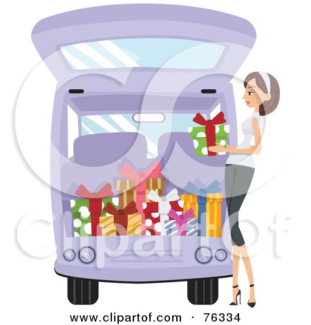 Royalty-Free (RF) Clipart Illustration of a Pleasant Lady Loading Christmas Presents Into Her Van by BNP Design Studio