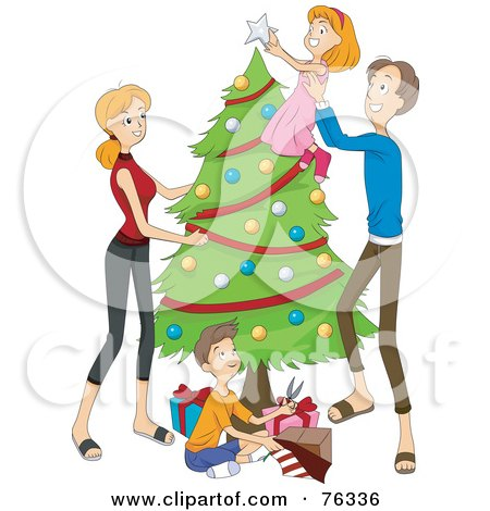 Royalty-Free (RF) Clipart Illustration of a Father Lifting His Daughter To Put The Topper On A Christmas Tree, The Mom Watching And Son Wrapping Presents by BNP Design Studio