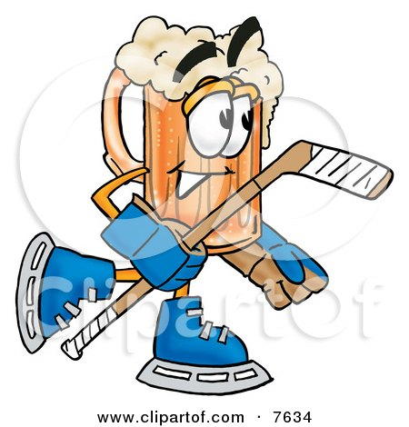 Clipart Picture of a Beer Mug Mascot Cartoon Character Playing Ice Hockey by Toons4Biz