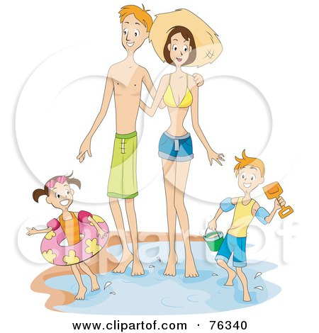 Royalty-Free (RF) Clipart Illustration of a Happy Family Standing In The Water At The Beach by BNP Design Studio