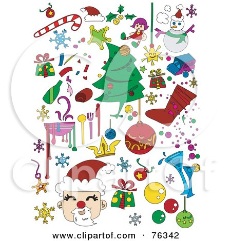 Royalty-Free (RF) Clipart Illustration of a Digital Collage Of Christmas Icons And Items by BNP Design Studio