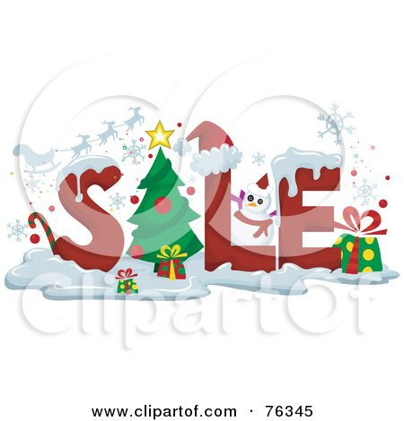Royalty-Free (RF) Clipart Illustration of The Word SALE With Snow And Christmas Items by BNP Design Studio