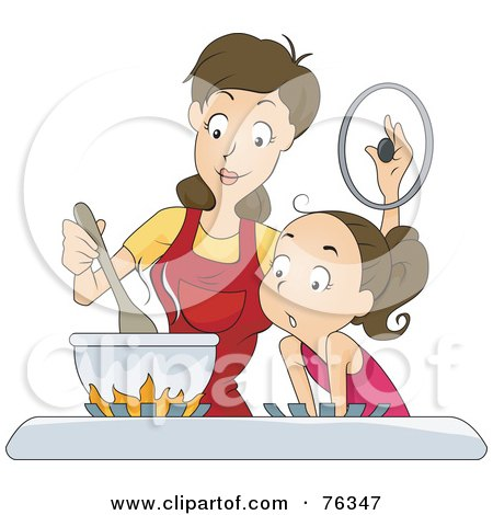 Royalty-Free (RF) Clipart Illustration of a Girl And Her Mom Cooking On A Gas Stove by BNP Design Studio