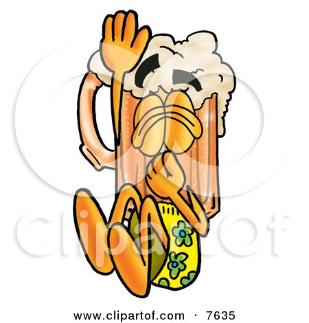 Clipart Picture of a Beer Mug Mascot Cartoon Character Plugging His Nose While Jumping Into Water by Toons4Biz