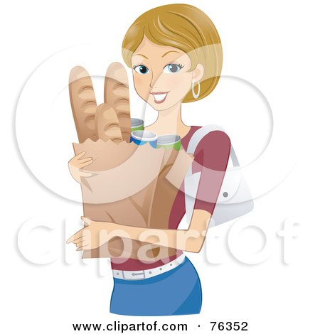 Royalty-Free (RF) Clipart Illustration of a Pretty Blond Woman Carrying A Grocery Bag With Bread by BNP Design Studio