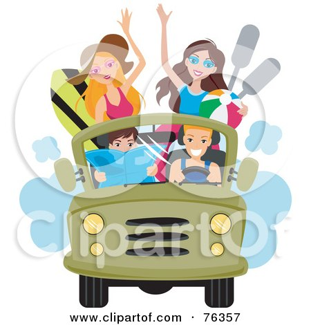 Royalty-Free (RF) Clipart Illustration of a Group Of Young Men And Women Driving To The Beach In A Jeep by BNP Design Studio