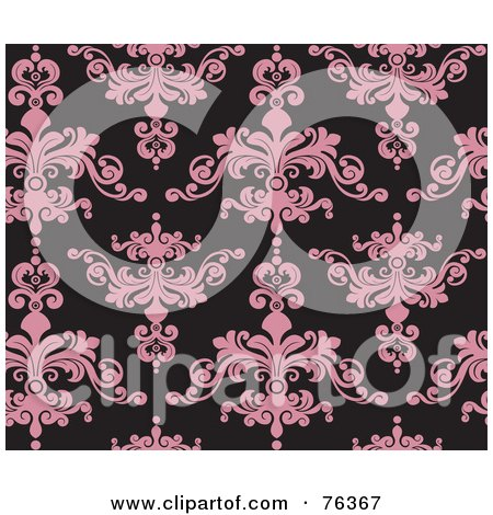 Royalty-Free (RF) Clipart Illustration of a Black And Pink Damask Seamless Background Pattern by BNP Design Studio