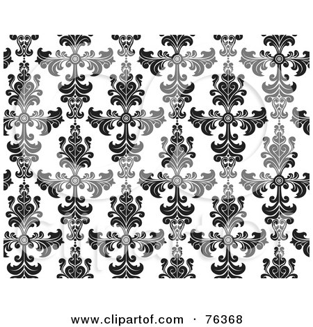 Royalty-Free (RF) Clipart Illustration of a Black And White Damask Seamless Background Pattern by BNP Design Studio