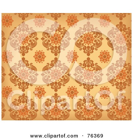Royalty-Free (RF) Clipart Illustration of a Brown And Orange Damask Seamless Background Pattern by BNP Design Studio