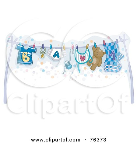Royalty-Free (RF) Clipart Illustration of a Clothesline With Baby Boy Clothes Hung Out To Dry by BNP Design Studio