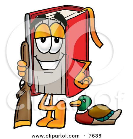 Clipart Picture of a Red Book Mascot Cartoon Character Duck Hunting, Standing With a Rifle and Duck by Toons4Biz