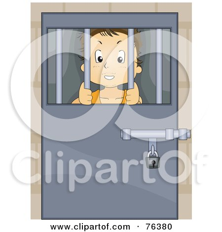 Royalty-Free (RF) Clipart Illustration of a Troubled Boy Locked Behind Bars by BNP Design Studio