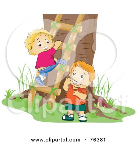 Royalty-Free (RF) Clipart Illustration of Two Boys Climbing A Ladder To A Tree House by BNP Design Studio