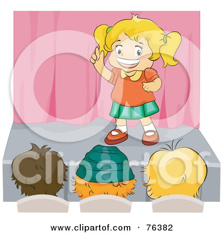 Royalty-Free (RF) Clipart Illustration of a Blond Girl Performing On A Stage In Front Of An Audience by BNP Design Studio