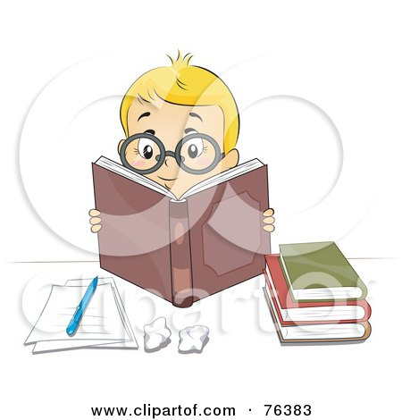 Royalty-Free (RF) Clipart Illustration of a Smart Blond Boy Wearing Glasses And Reading Books by BNP Design Studio