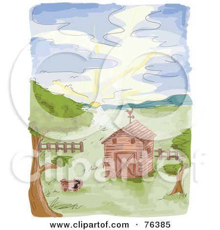 Royalty-Free (RF) Clipart Illustration of a Watercolor Of A Farm Barn At Sunrise by BNP Design Studio