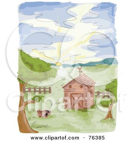Watercolor Of A Farm Barn At Sunrise Posters, Art Prints