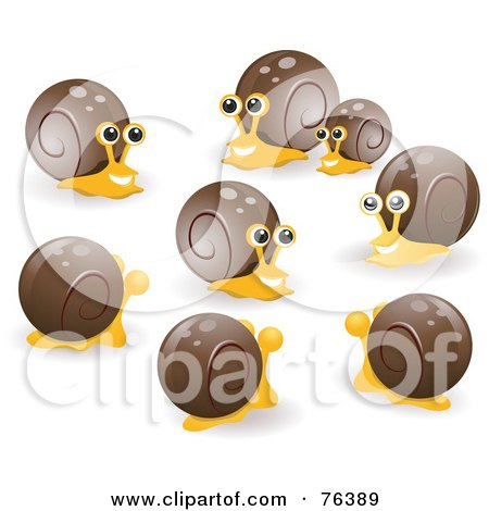 Royalty-Free (RF) Clipart Illustration of a Group Of Happy Socializing Snails by BNP Design Studio